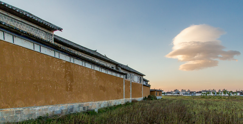 Xizhou, China: the early 20th century vintage Linden Centre main building is set in the midst of Xizhou garlic fields.