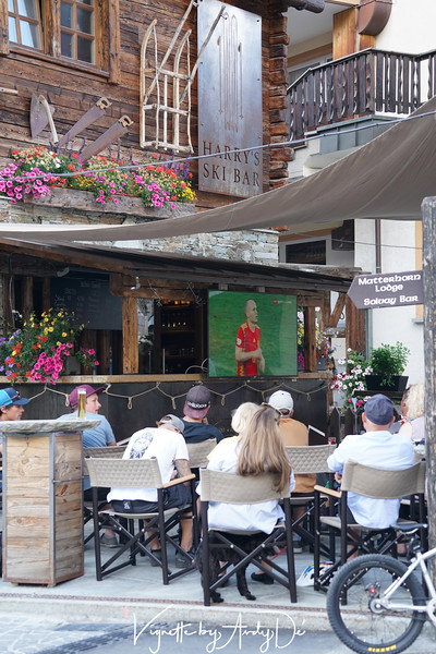 Given the world cup fever that was ubiquitous across Switzerland, Zermatt was no exception! Here was a local cafe and bar (Harri's Sky Bar) offering up free viewing for the tourists, triggering brisk business in the process!