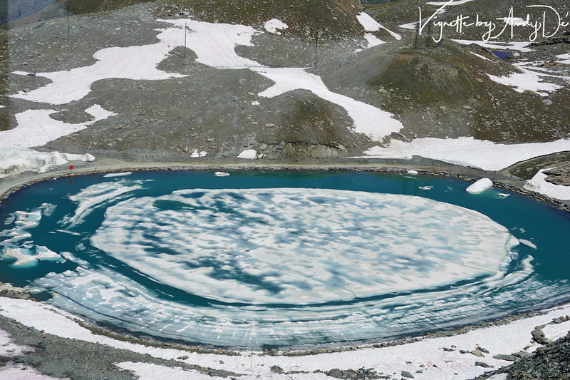 A molten pool of limpid blue water triggered by a Glacier on the MATTERHORN - looked virtually like a landing pad for an UFO!