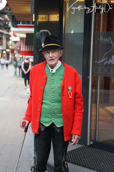 This dignified and sartorially elegant gentleman, attired in his traditional Swiss regalia, was kind enough to pose for a portrait - God bless him!