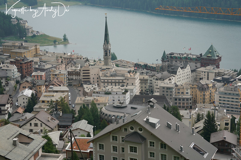 Birds's eye view of the city of St. Moritz, which attracts skiers from all over the world in winter.