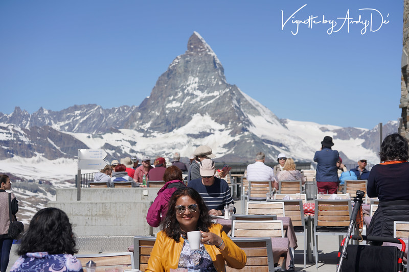 That cup of Cappuccino is really special and unforgettable for Sanchita De, given this unbelievable and happening open air cafe ambiance at the top of the Swiss Alps, with the Matterhorn as the surreal backdrop!