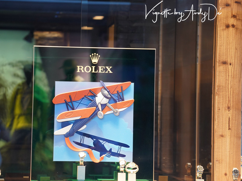 Every major Swiss city and town has opulent stores offering astronomically prices Swiss precision watches, often with novel displays like this one from Rolex of Geneva!