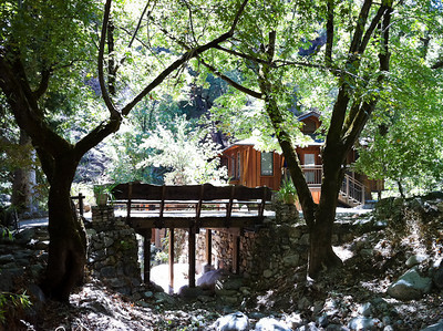 The larger bridge to the zendo, side view