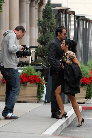 """EXCLUSIF_____ Les Anges de la tele realite sur NRJ 12 , le tournage est a Los Angeles en Californie (la ville des Anges), sur cette scene Marlene de """"Loft Story 2 """",Diana de """" L'ile de la Tentation """". et Cindy Sander sont accueillis par le producteur Fabrice Sopoglian a l'hotel Beverly Wilshire  celebre par le film Pretty Woman avec Julia Roberts et Richard Gere, Marlene,Diana et Cindy sont arrivees en Ford Mustang rouge a Beverly Hills."""