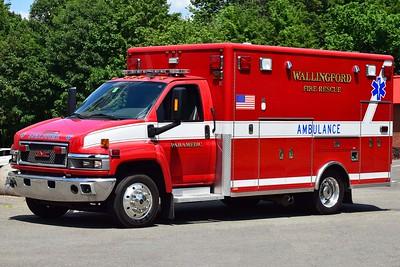 Wallingford's Medic E, a GMC Topkick ambulance.