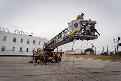 Rescue Company 11 set up a remote high-point rescue scenario this past Sunday during a company training. Crews had to aid and recover a simulated patent located ~40' down in an outflow channel.