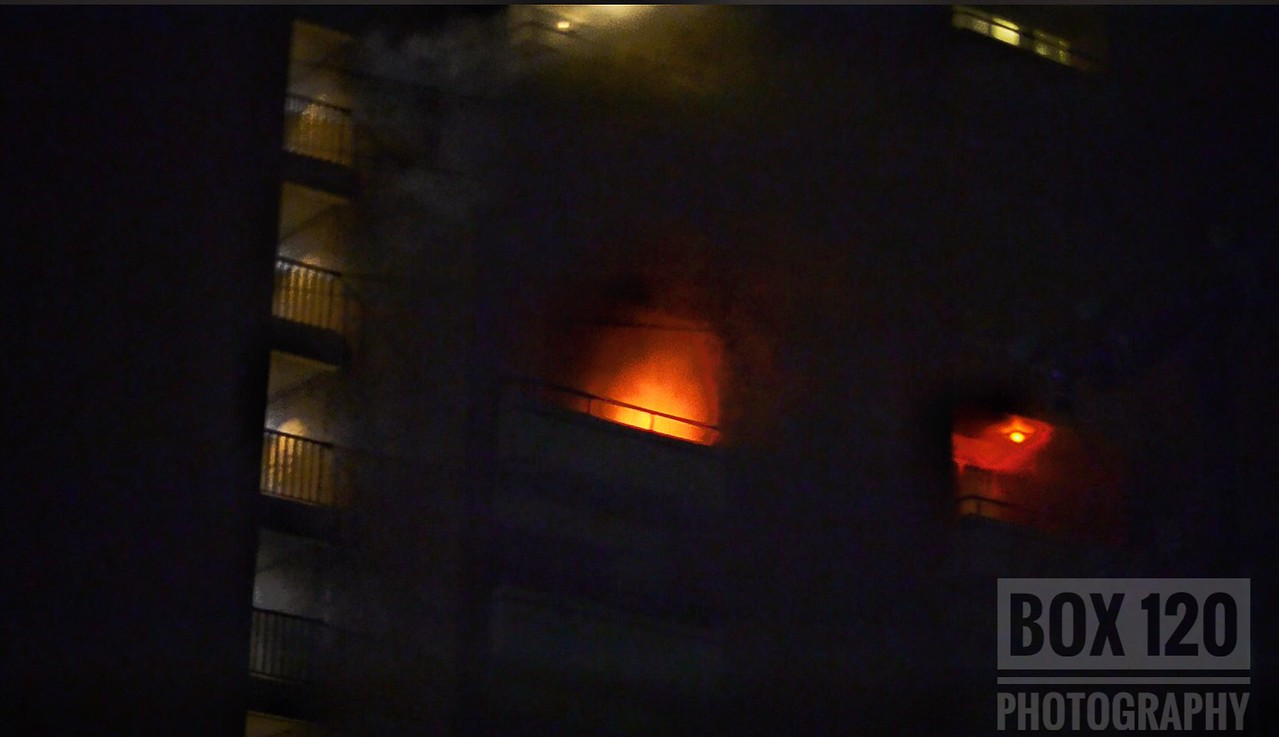 """Companies worked a 2-Alarm High Rise fire early this evening at a 10 story apartment building in the 1200 blk of Fair Ave on the cities SE side. Engine Co 29 checked out with nothing showing and advised all companies that they were investigating. Upon making the 7th floor, crews were faced with light to moderate smoke and found very heavy smoke coming from the fire apartment unit. Battalion 6-0 assumed command upon arrival and assigned Engine 13 to Lobby control and directed incoming units to assist with evacuation. Engine 29 began fire attack with a """"house line"""" and at one point, fire was self venting from the Charlie Delta Corner. BC6 requested a 2nd alarm upon the fire venting. While other crews were fighting fire, Ladder 29 assigned to search, found a male victim who was transported to the San Antonio Military Medical Center/Brooks Army Medical Center priority 1 with 2nd and 3rd degree burns. Engine 29 was able to get a quick knock down and crews assisted with evacuating all the residents, most of with were elderly. The fire was held to the origin apartment with minor to moderate smoke damage to surrounding apartments. Arson was called out and crews were on scene for well over 2 hours conducting overhaul and salvage operations. Companies on the ticket were EN01 EN03 EN04 EN07 EN09 EN11 EN13 EN20 EN21 EN22 EN29 TK06 TK09 TK22 TK29 TK33 PL01 PL11 HR11 M13 M16 M18 M29 M50 MAC41 MOF1 MOF2 MOF3 BC01 BC02 BC03 BC06 BC07 BC08 MSC FSC."""