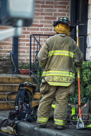 """Fire companies worked a small fire in the 100 blk of Melrose Place in the Uptown section of the city this afternoon. Engine Co. No. 6 was dispatched to a reported """"Extinguished Fire"""" and upon making it to the apartment in question found heavy smoke and heavy charing in the attic. Engine 6's officer quickly upgraded the incident to a """"Regular"""" or more commonly know as a """"Box Alarm,"""" and pulled a redline to the second floor. Crews laddered the roof, pulled an additional redline off of Engine 4, and pulled ceiling checking for extension and followed the """"Crocodile-ing"""" of the wood in the attic space above. Eventually vents were put in the roof and PPV's placed at the door to allow smoke to exit. The fire was caused by a plumber soldering in the bathroom. Companies on the ticket were EN01, EN04, EN05, EN06, TK17, PL01, and BC08."""