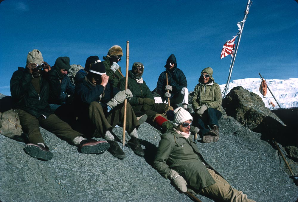 The summit of Kilimanjaro at about 5,800m. Chris sitting, far right