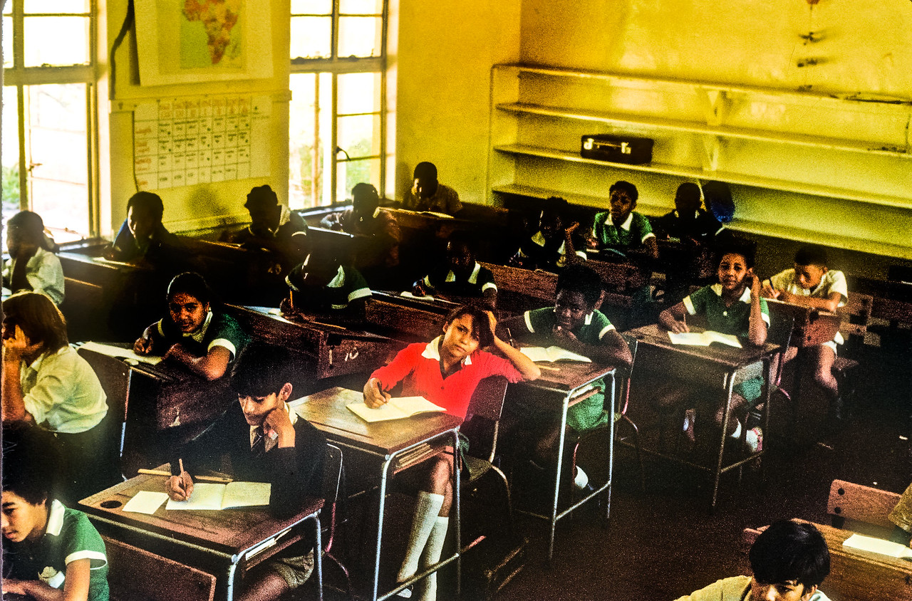 In Grade 7 classroom, Parker Primary School. (Probably 1972, but not sure)