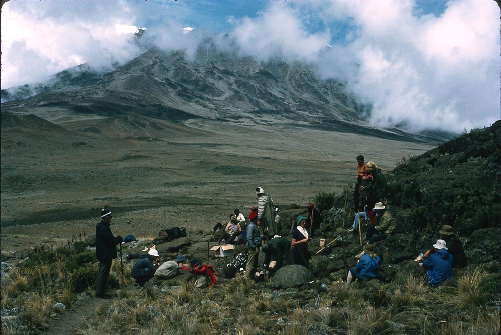 The Saddle, on the way up Kilimanjaro, at about 5,000m. Fionna Hayden in green hat, centre.