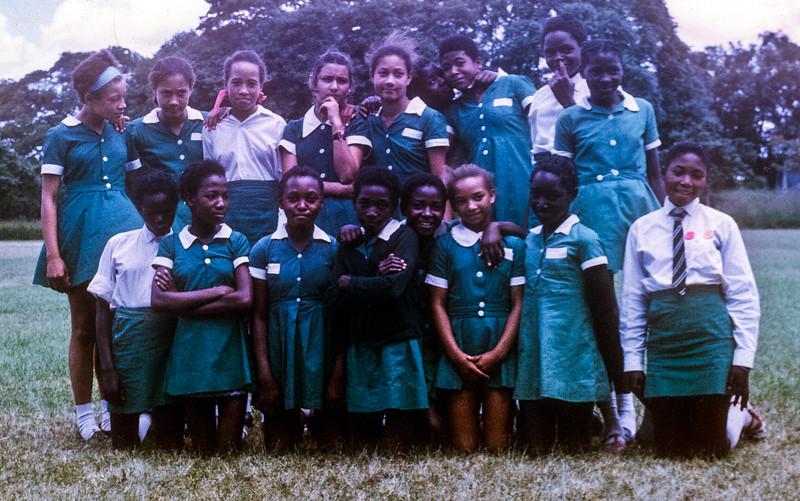 Grade 7 girls, Parker Primary School, Kabwe, Zambia, photo taken approximately 1971