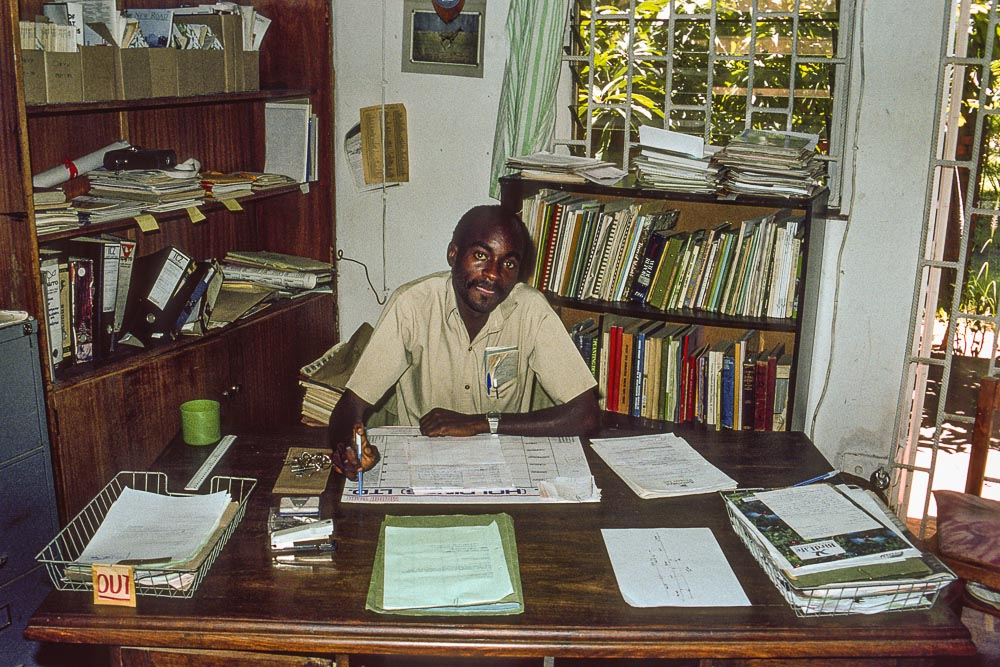 Mwape Sichilongo, my successor as Executive Director,  at his desk in the Wildlife Conservation Society head office
