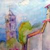 9. Štefica Cerjan-Stefanović, Dva tornja, akvarel