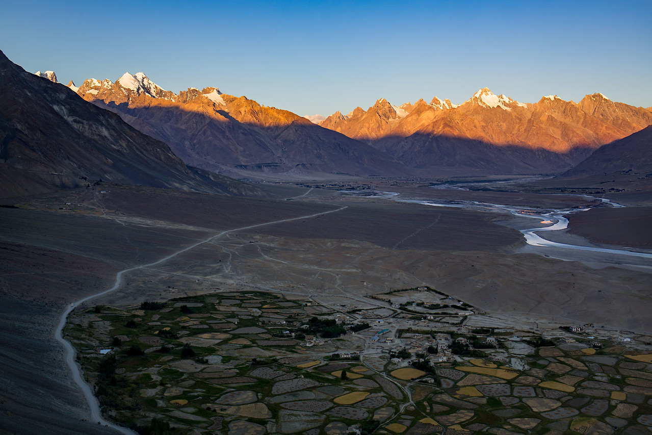 The Zanskar valley. Morning view from the Stongdey monastery.