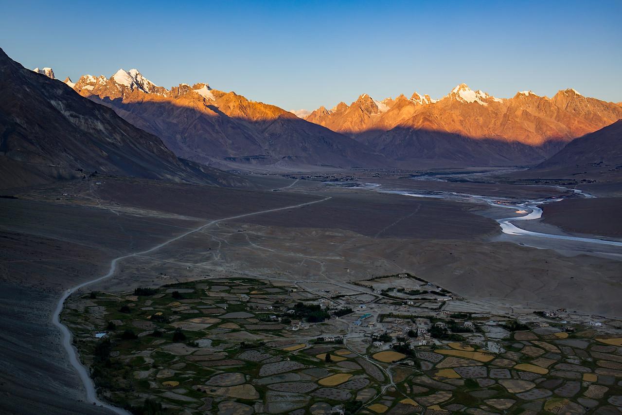 The Zanskar valley. Morning view from the Stongdey monastery.