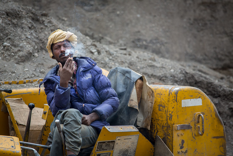 Road worker, the Padum to Nimmu roadworks. The completion of this road will offer all weather connectivity for Zanskar.