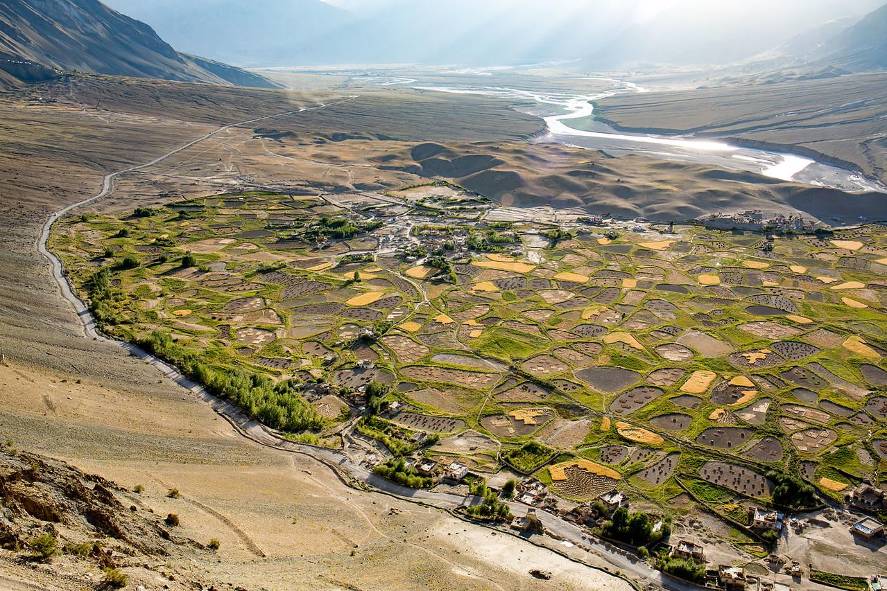 The Zanskar valley. Evening view from the Stongdey monastery.