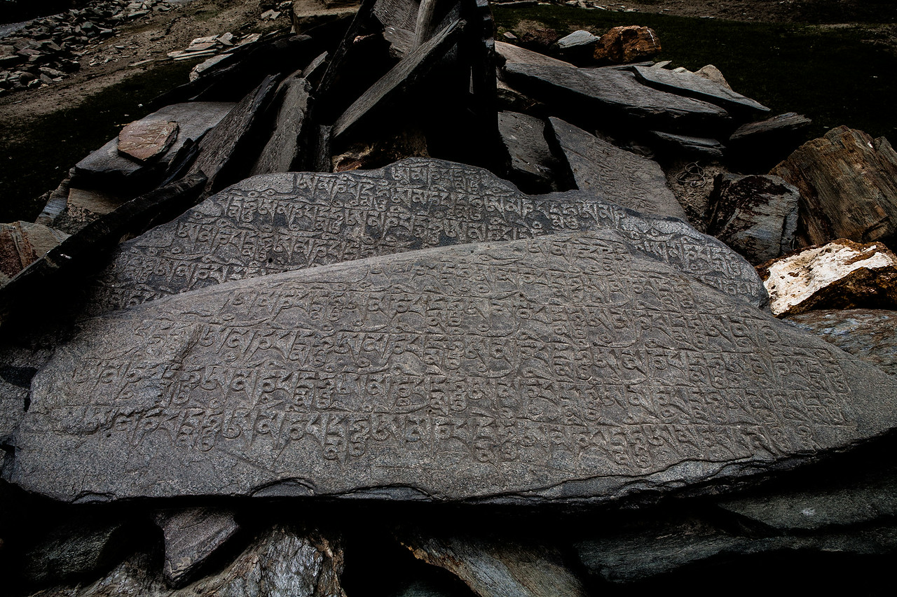 Rocks inscribed with Tibetan scriptures en route Zanskar