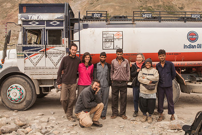 The group with and the drivers of the Indian Oil diesel carrier we travelled in on the journey from Parkachik to Sani in the Zanskar valley.