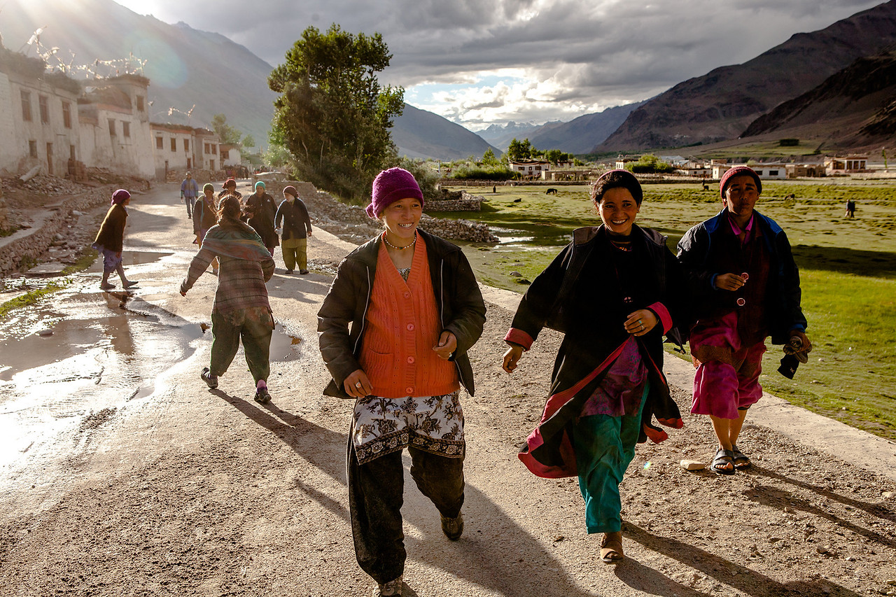 Girls having some fun, Sani, Zanskar valley, India