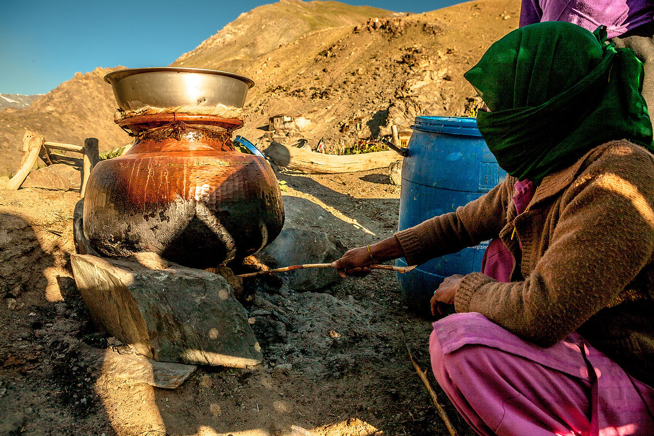 Homemade liquor in Zanskar, India