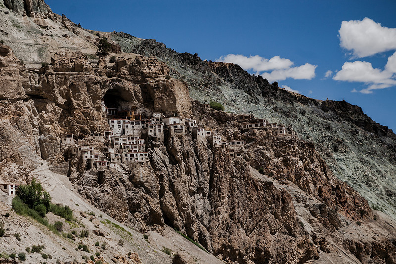 First glimpse of Phuktal monastery, Zanskar, India
