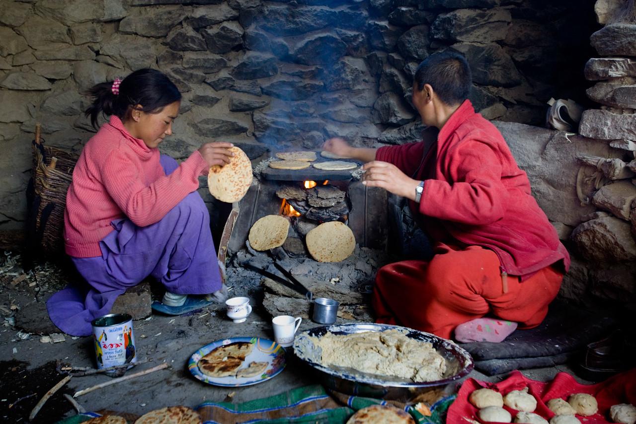 Making chapatis, Karsha village.