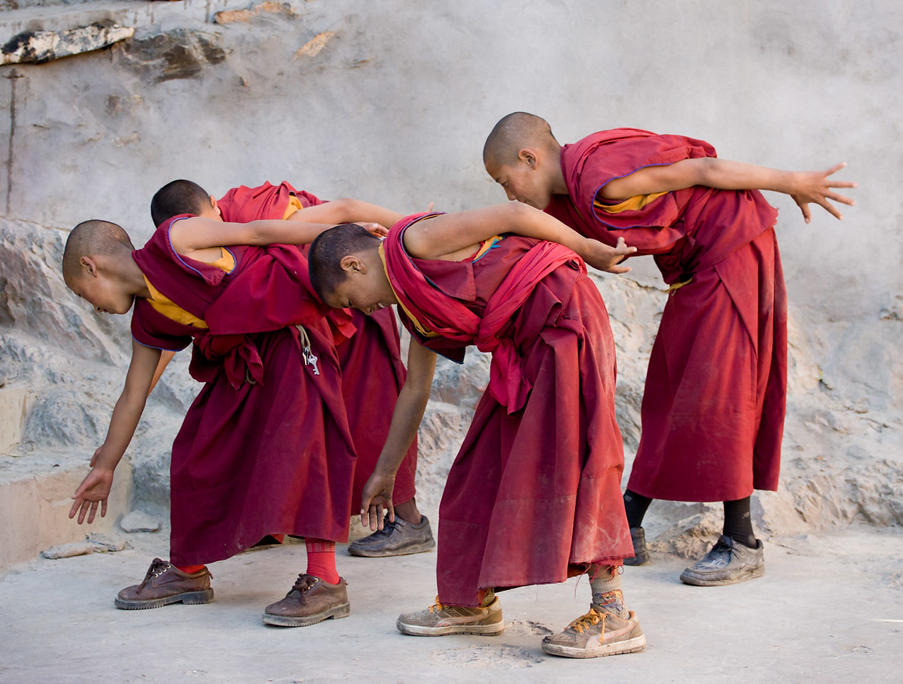 Modern moves, young monks, Karsha Monastery.