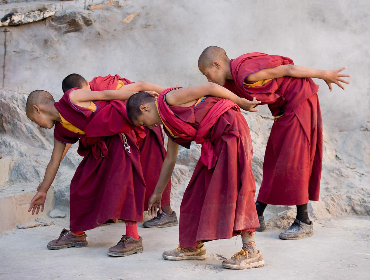 Modern moves, young monks, Karsha Monastery.
