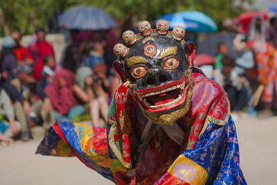 This is the mask of the demon in the Cham dance at the Sani festival hosted by the Sani monastery. The demon getting killed by the God is the underlying theme of all the dances in the festival.