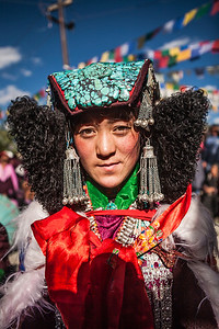 A Zanskar bride dressed in full bridal finery at the Sani festival in Zanskar, a remote and isolated valley in India.