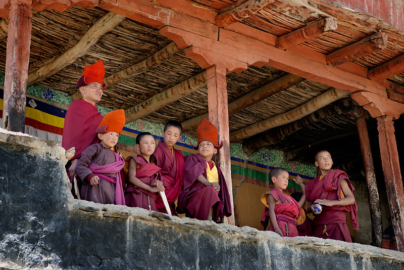Watching the dance practice. Karsha Monastery.