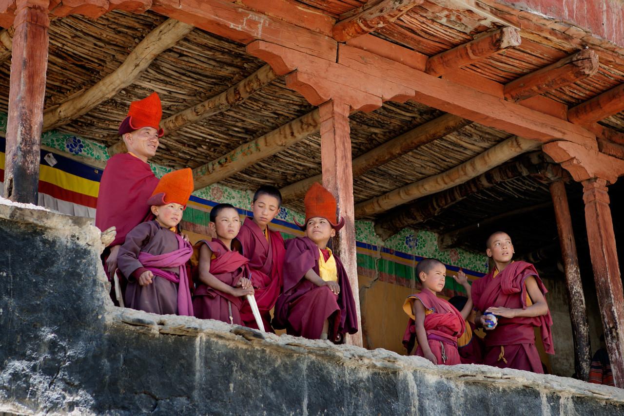 Watching the dance practice. Karsha Monastery.