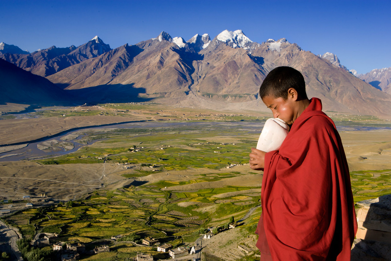 Blowing the conch shell, early morning, Karsha Monastery.