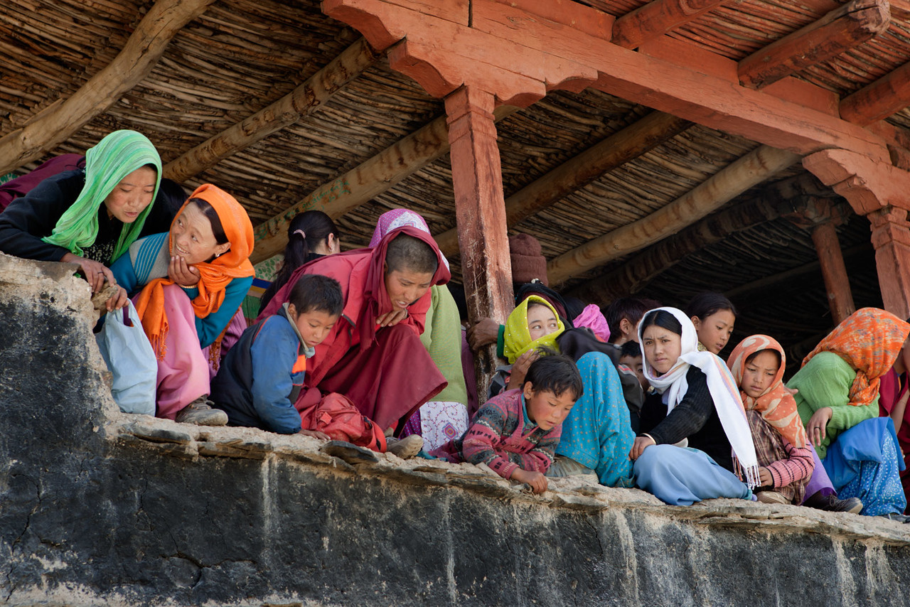 Watching the Cham (mask) dance. Karsha Monastery.