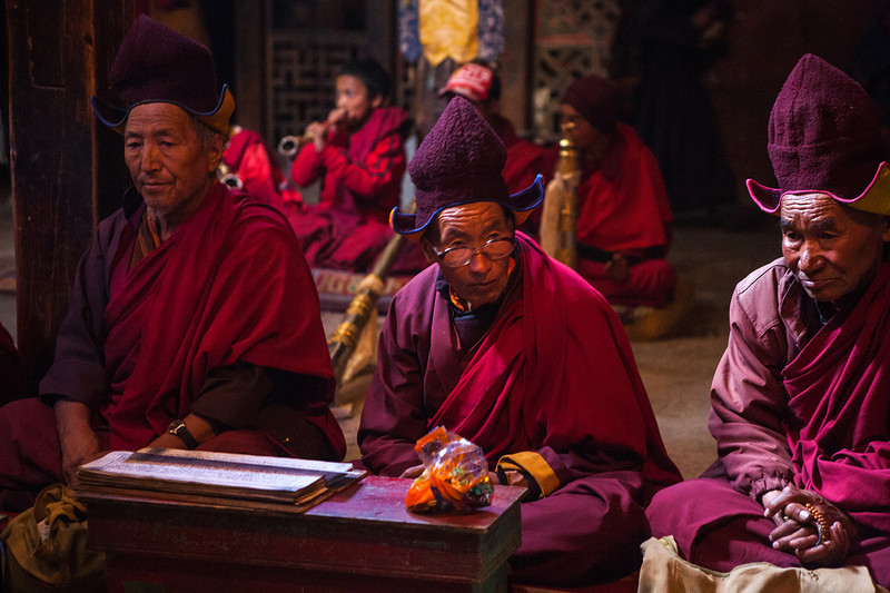 Monks at Sani Monastery in Zanskar, India