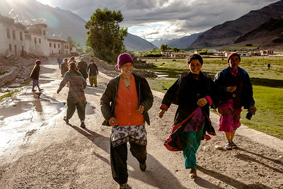 Young girls having fun as the sun gets ready to set in Sani, a small village 6km before Padum, the headquarters of Zanskar valley, the most isolated and offbeat valley in India.