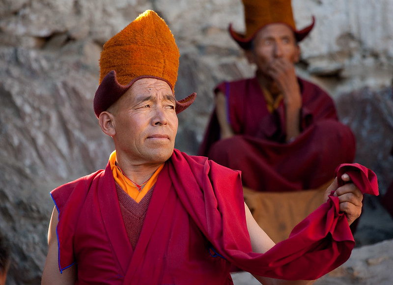 Monks practicing the Cham (mask) dance. Karsha Monastery.