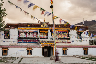 Sani monastery, decked up with fresh painted white colour and colourful prayer flags swaying in the evening breeze just for the Sani monastery festival in Zanskar, a remote and isolated valley in Zanskar.