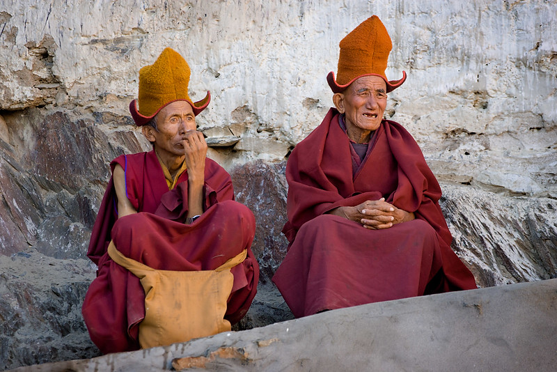 Two monks, Karsha Monastery.