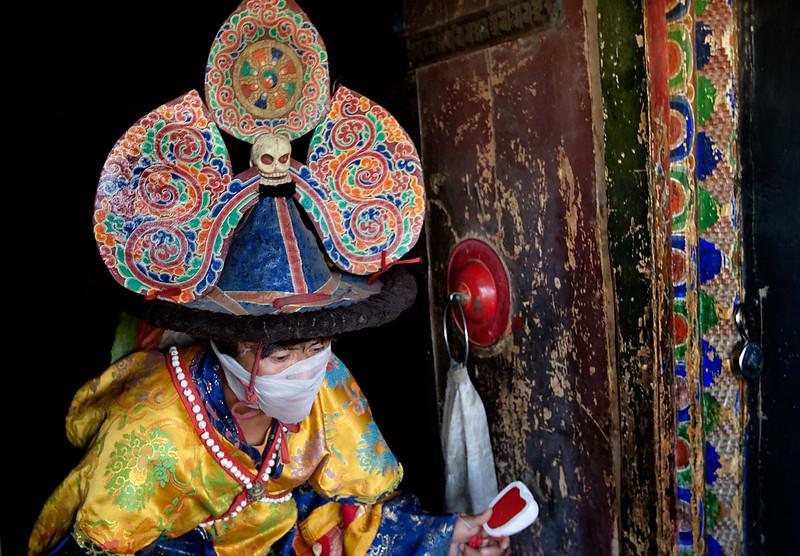 Cham (mask) dance. Karsha Monastery.