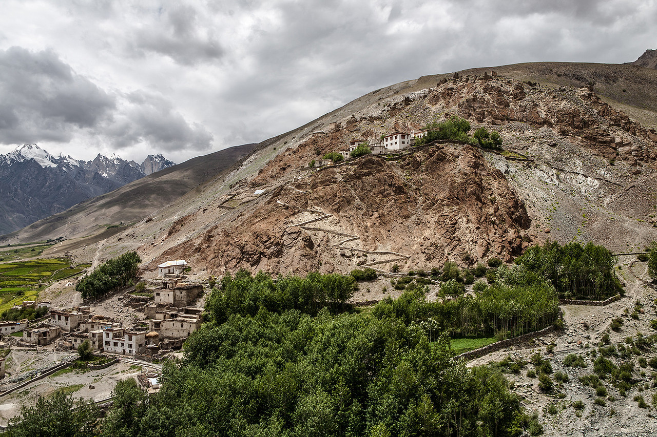 View of the Karsha valley from the top of the monastery in Zanskar, India