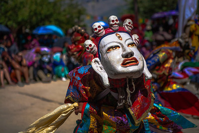 This mask symbolises the good (God) that wins over the evil (demon) at the Sani festival. The demon getting killed by the God is the underlying theme of all the dances in the festival.