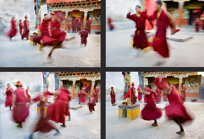 Monks practicing the Cham (mask) dance. Karsha Monastery.