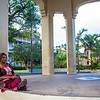 Woman reading at a park