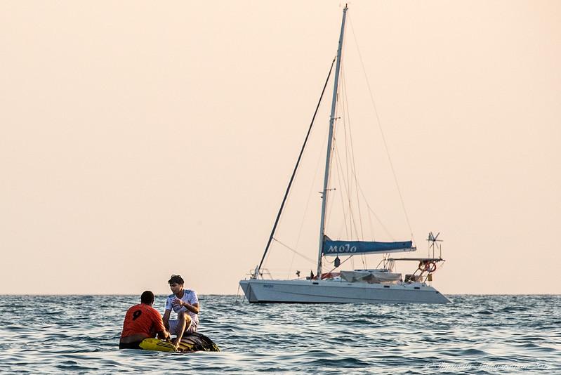 Having a chat at sea