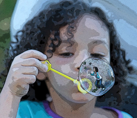 Eva blowing bubbles