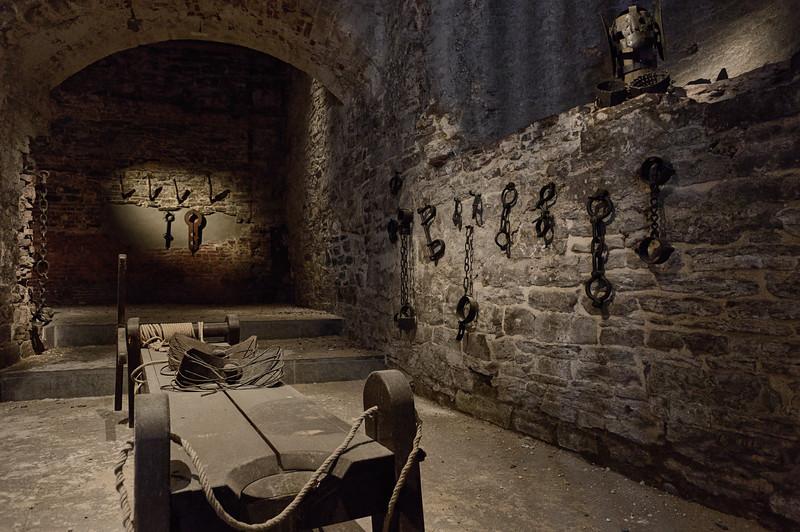 """Dungeon """"torture chamber"""" exhibit, Het Gravensteen, Ghent"""